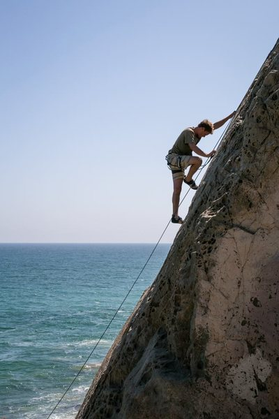Rock Climbing Photo: working up the slabby mugu spire