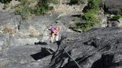 Rock Climbing Photo: Dyan Padagas having a ball on pitch 4 of Orbit, Sn...