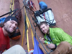 Rock Climbing Photo: Duke and I on the Ledge Halfway up Moonlight Butre...