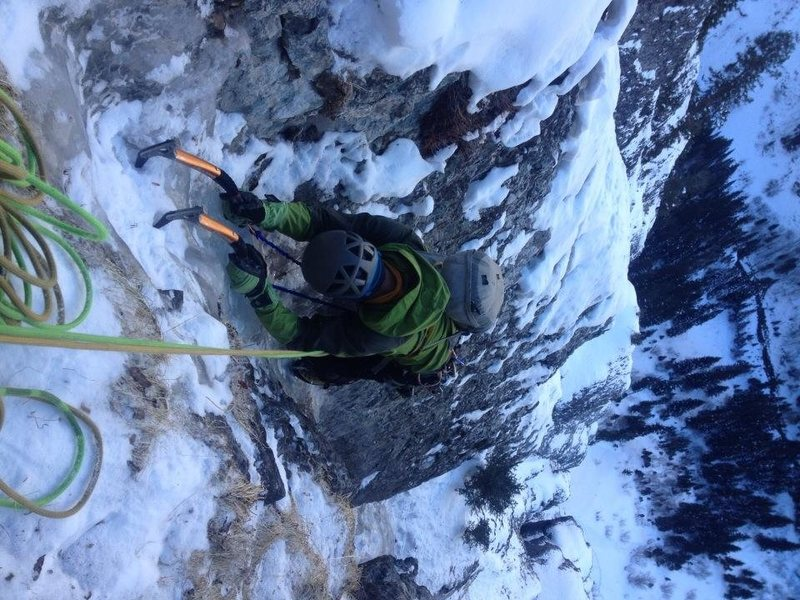 Michael G. cruising the 2nd to last pitch of Bird Brain Boulevard.  December 2013
