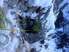 Rock Climbing Photo: Michael G. cruising the 2nd to last pitch of Bird ...