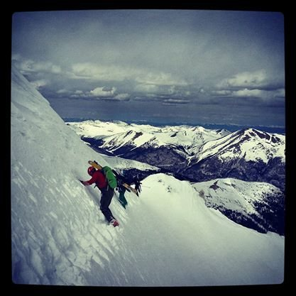 Taking a lap up Dead Dog Couloir with the planks.  February 2014