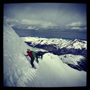 Rock Climbing Photo: Taking a lap up Dead Dog Couloir with the planks. ...
