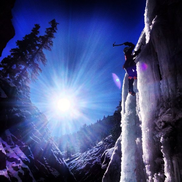 Rock Climbing Photo: Jenny getting some laps in the Ouray Ice Park. Dec...