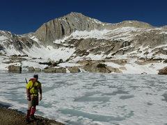 Rock Climbing Photo: Barry near frozen-over Steelhead Lake, North Peak'...