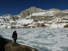 Rock Climbing Photo: Jeff near frozen-over Steelhead Lake, North Peak's...