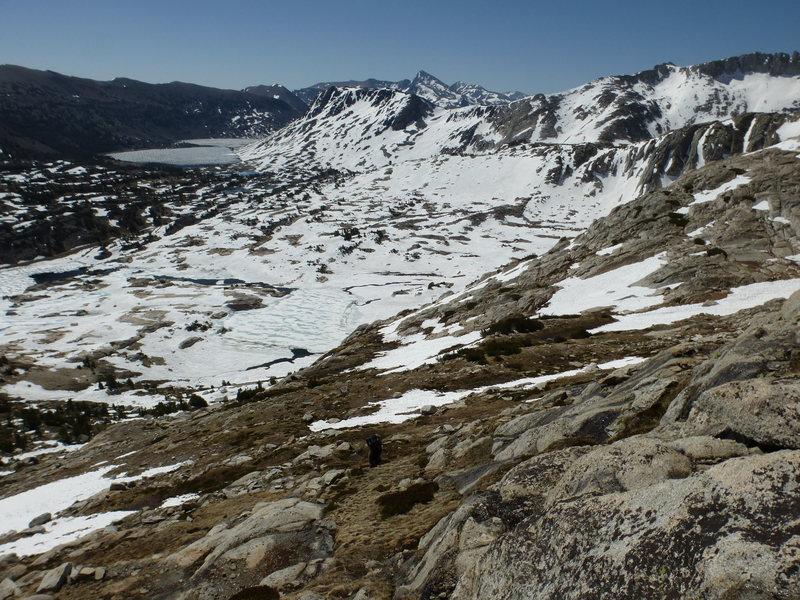 Rock Climbing Photo: Close to start of NW Ridge climb, looking back sou...