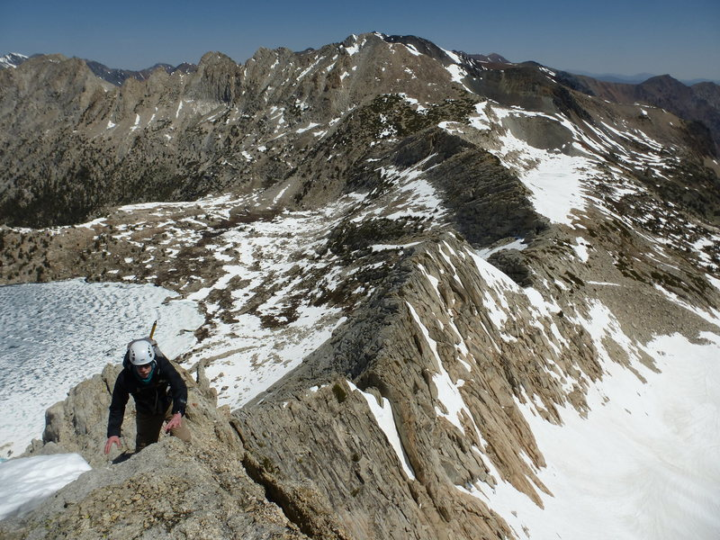 Jeff on NW Ridge, looking north with Upper McCabe Lake below.