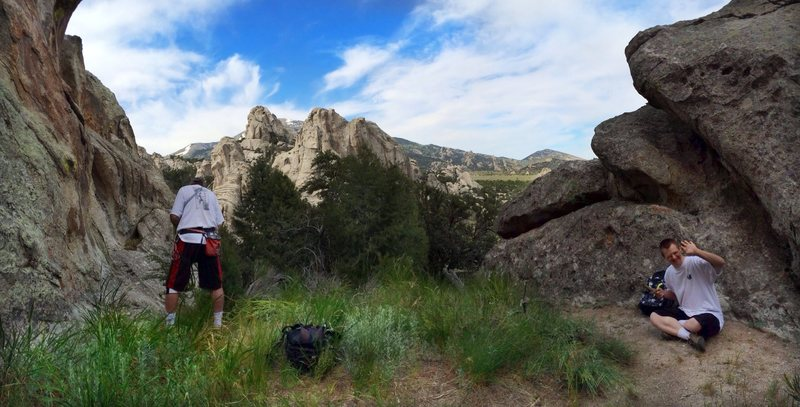 Rock Climbing Photo: What a cool spot with great views - and great clim...