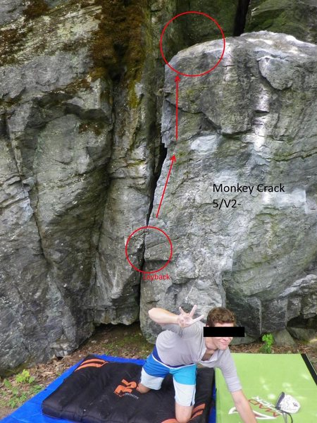 Rock Climbing Photo: Monkey Crack V1-2. Use the tree to get down!