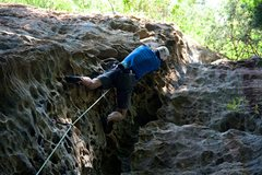 Rock Climbing Photo: Tom nearing the top of this awesome juggy section!
