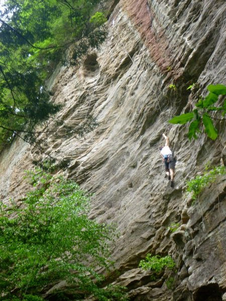 Rock Climbing Photo: Tom somewhere around the crux of the route.  Note ...