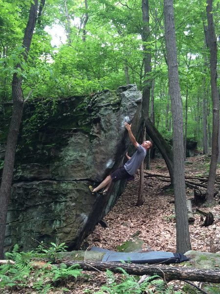 "Another bowl of ""Brain Stew V5"" for Ray Weber...County Line boulders Coopers Rock WV."
