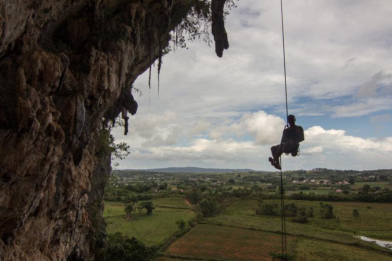 Rock Climbing Photo: Rappelling off of Vamo Alla