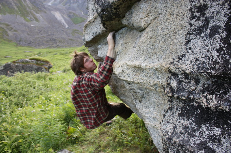 Climbing on the Indian Head boulder