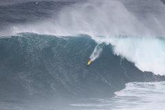 "Rock Climbing Photo: Mark Healey paddling in at ""Peahi ""aka &..."