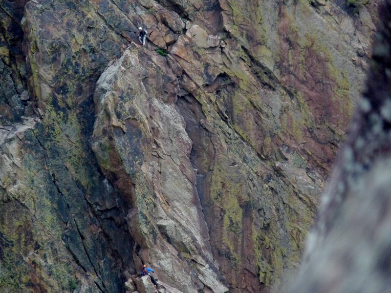 Rock Climbing Photo: One guy at the top of the Ruper crack one at the b...