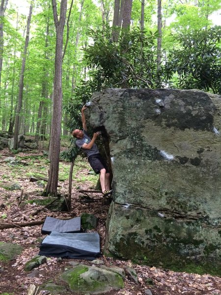 "Ray Weber on ""Walk the Line V1.""  County Line boulders Coopers Rock WV"