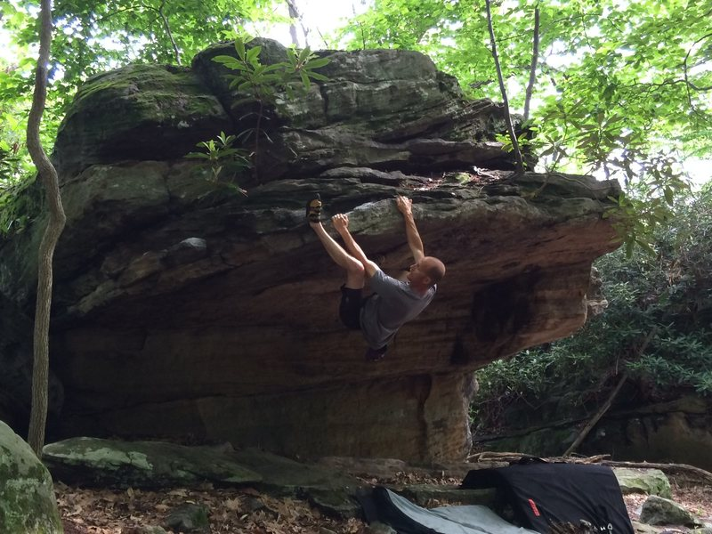 "Rock Climbing Photo: Ray Weber on the ""Crescent Moon V3.""  A ..."