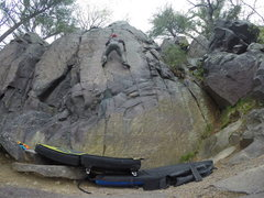 Rock Climbing Photo: Way up high on Flatiron (V4)