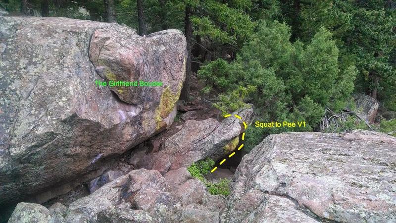 Rock Climbing Photo: Squat to Pee, V1.