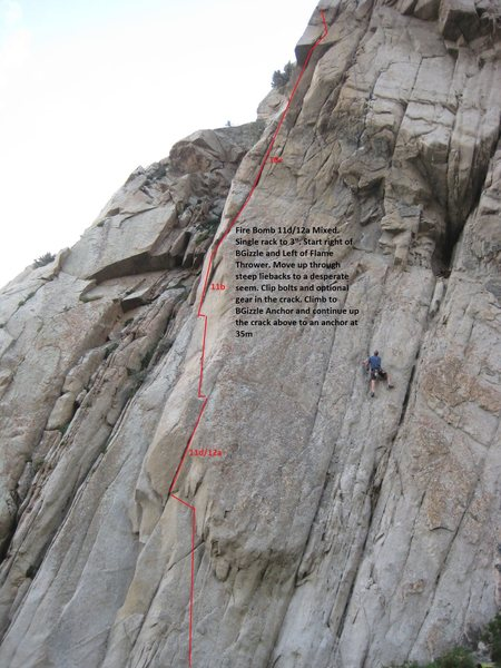Rock Climbing Photo: Topo for Fire Bomb