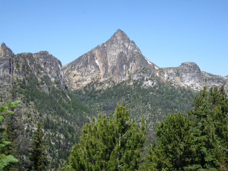Cathedral Peak in early August from near Apex Pass to the SE.