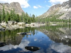 Rock Climbing Photo: Upper Cathedral Lake in early August looking East ...