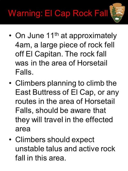 East Buttress approach is in the rockfall zone.