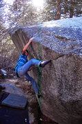 Rock Climbing Photo: Andrew Thomas attempting the top-out on the seam (...