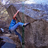 Andrew Thomas attempting the top-out on the seam (project?)