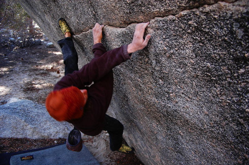 Rock Climbing Photo: Jerome latching the only good edge on the seam.