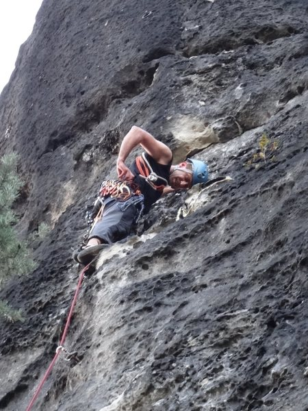 Rock Climbing Photo: Clipping a sling