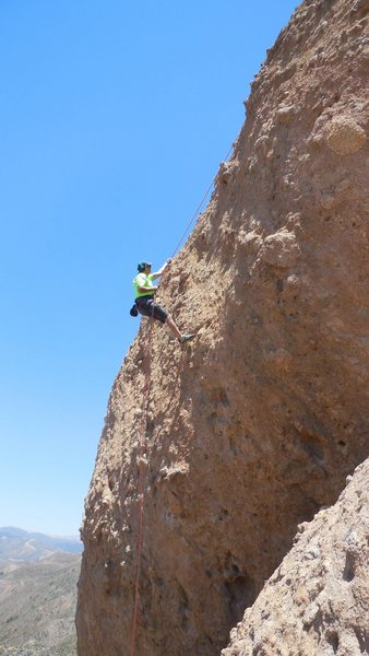 "Rock Climbing Photo: Descending ""Hang 'Em High."""