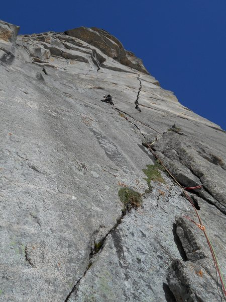 Rock Climbing Photo: First pitch lead of Good Evans. Photos taken by Ke...
