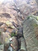 Rock Climbing Photo: Matt leading the first pitch of Grand Course, sett...