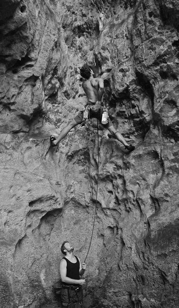 Rock Climbing Photo: First moves on Monkey Gone to Heaven
