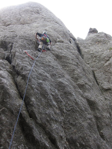 Paul leading the first pitch of the Conn Route (5.3)
