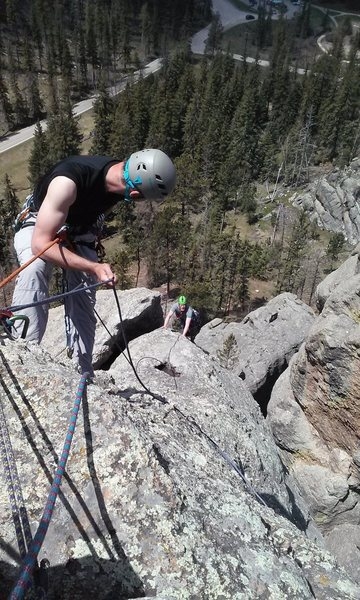 Rock Climbing Photo: Seth climbing the last pitch to the summit.