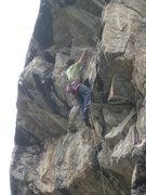 Rock Climbing Photo: Upper roofiness on Len's World (5.12d).