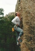 Rock Climbing Photo: Jim Slichter on the first onsight lead of Emergenc...