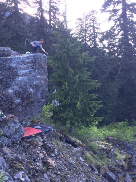 Rock Climbing Photo: Cleaning the Rewilding boulder