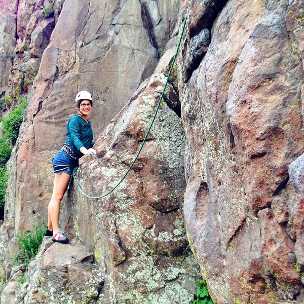 Becca is ready to embark upon her first real climb! (She made it to the top).