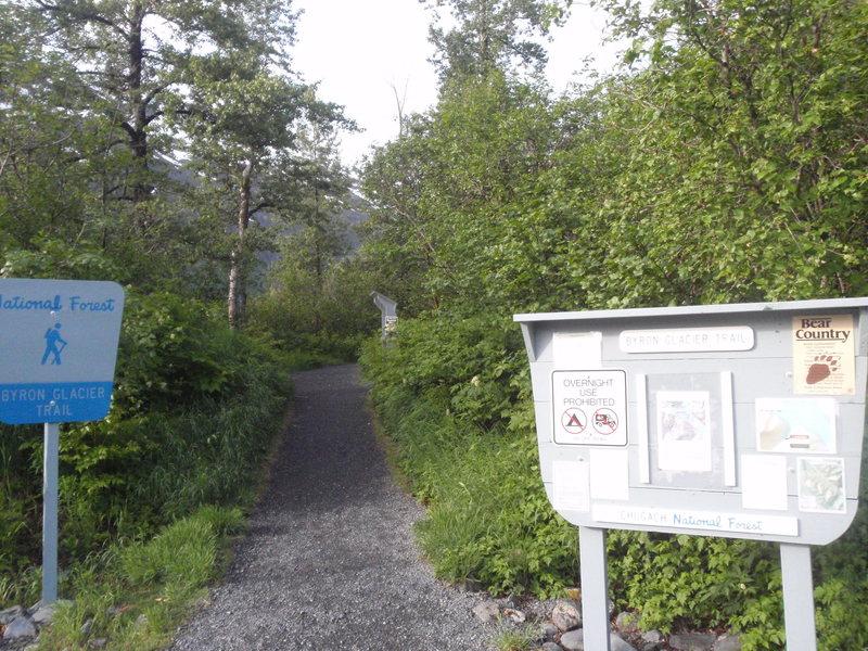 The trail head to Byron Glacier Wall
