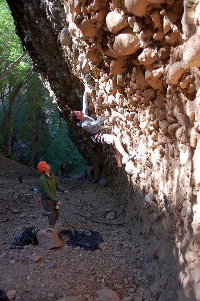 Rock Climbing Photo: Joshua getting the red point!