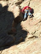 Rock Climbing Photo: Gman cleaning my lead in the 1st shallow dihedral ...