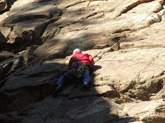 Rock Climbing Photo: Gman cleaning the 1st crux in the offhands-crack o...