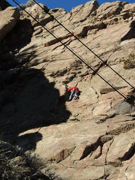 Gman on the classic crack climbing of Five Finger Discount