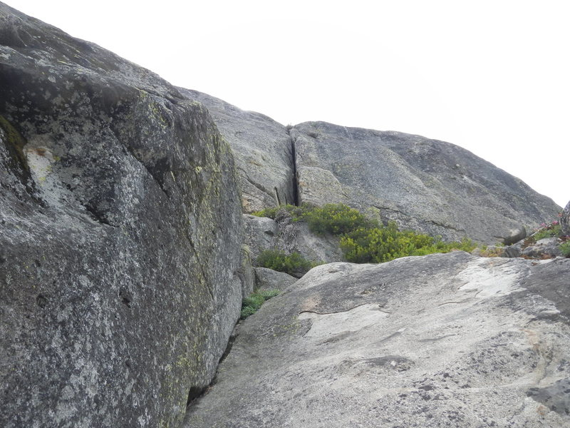 Rock Climbing Photo: Looking up into the beginning chimney of Coronoid ...