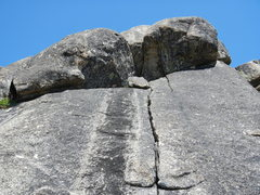 Rock Climbing Photo: Looking up the crack of Shootout.  It's located hi...